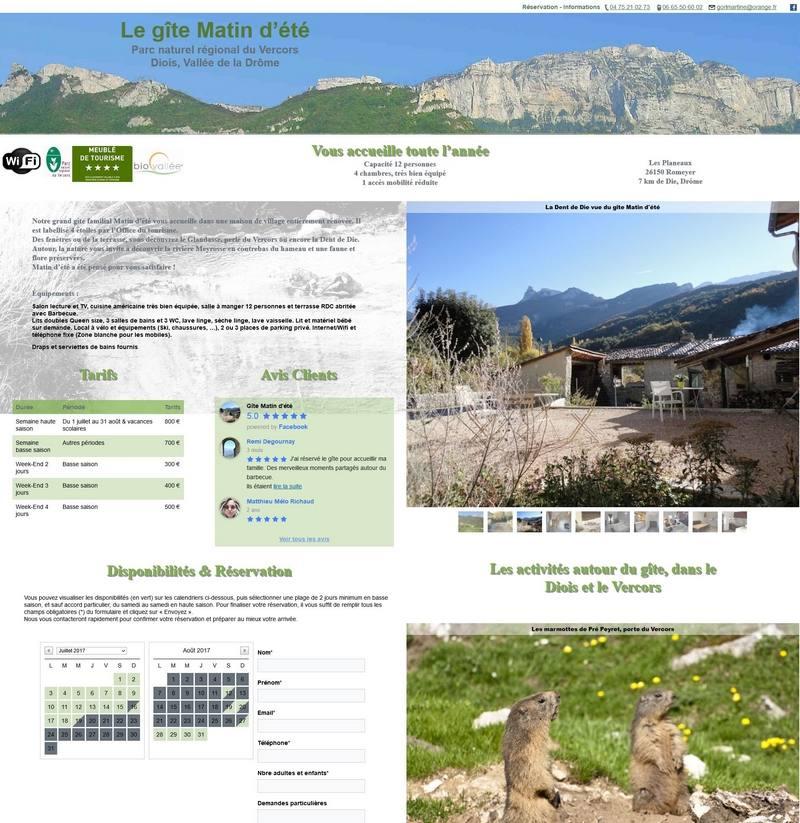 Accueil site web gite drome Vercors