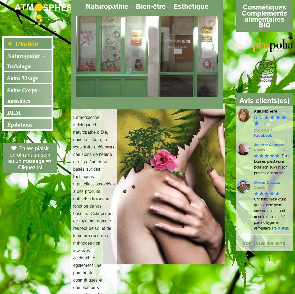 Accueil site web institut santé & bien-être Atmosphère