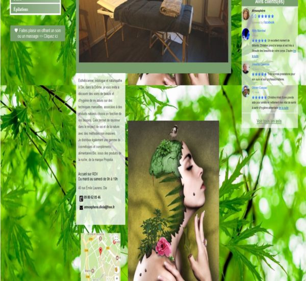 Accueil site internet Institut Atmosphère Santé Bien-être