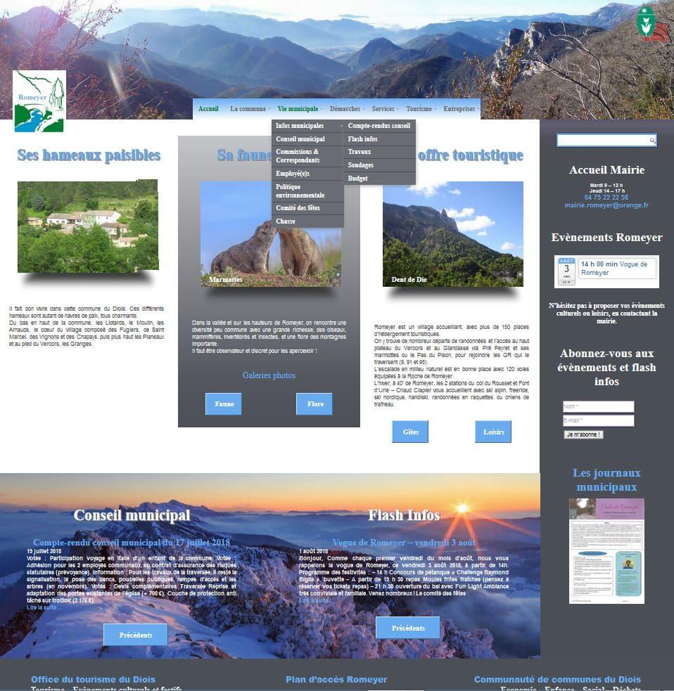 Accueil Site internet commune Romeyer